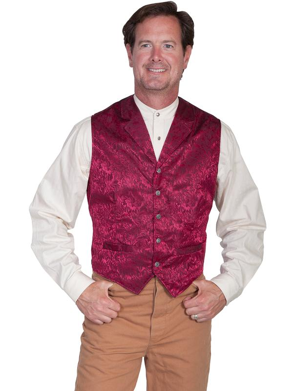 Scully Men's Old West Vest: Wahmaker Fancy Silk Classic Burgundy