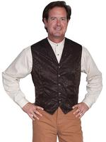 Scully Men's Old West Vest: Wahmaker Fancy Silk Classic Chocolate