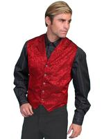 Scully Men's Old West Vest: Wahmaker Fancy Silk Classic Red Backordered