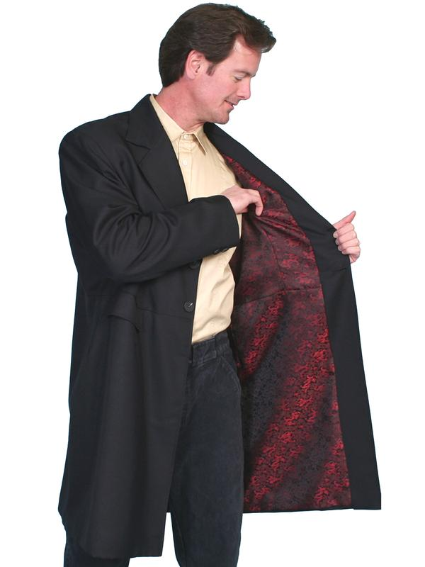 Scully Mens Old West Coat Wahmaker Frock Black With Buttons Red Dragon Lining 36 48 Big Tall 50 56