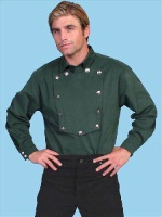 Scully Men's Old West Shirt: Wahmaker Cotton Bib Hunter Green S-2X