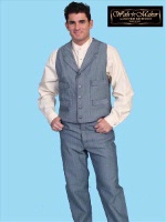 ZSold Scully Men's Old West Vest: Wahmaker Cotton Classic 4 Pocket Blue S-2X, Big/Tall 3X-4X SOLD