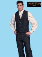 ZSold Scully Men's Old West Vest: Wahmaker Cotton Classic 4 Pocket Navy M-2X, Big/Tall 3X-3XT SOLD