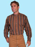 ZSold Scully Men's Old West Shirt: Wahmaker Cotton Stripe Colorful Brown L-2X SOLD