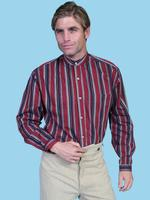 ZSold Scully Men's Old West Shirt: Wahmaker Cotton Stripe Colorful Burgundy L-2X SOLD