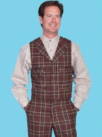 ZSold Scully Men's Old West Vest: Wahmaker Wool Rayon Blend 4 Pocket Classic Plaid S-2XL SOLD