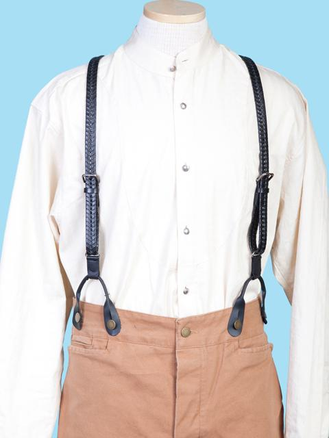 Scully Men's Accessory: Suspenders Wahmaker Leather Braid Black