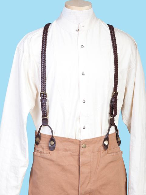Scully Men's Accessory: Suspenders Wahmaker Leather Braid Brown