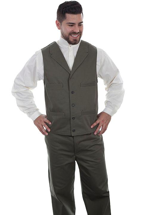 Scully Men's Old West Vest: Wahmaker Herringbone Army