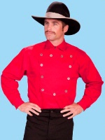 Scully Men's Old West Shirt: Wahmaker Cotton Bib Unisex Red