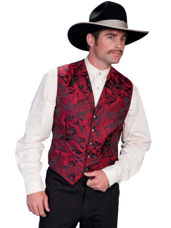 Scully Men's Old West Vest: Rangewear Fancy Dragon Red Backordered