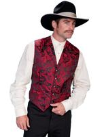 Scully Men's Old West Coat: Wahmaker Frock Coat Black with Black Buttons Red Dragon Lining