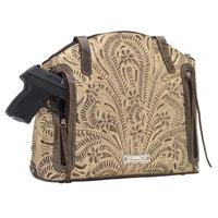 American West Handbag Annie's Secret Collection: Concealed Carry Zip Top Half Moon Tote Sand