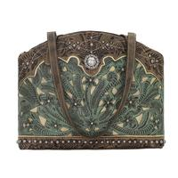 American West Handbag Annie's Secret Collection: Concealed Carry Zip Top Half Moon Tote Turquoise