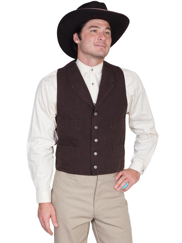 Scully Men's Old West Vest: Wahmaker Cotton Duck 4 Pocket Walnut