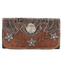 American West Handbag Desert Wildflower Collection: Leather Western Tri-Fold Wallet Brown
