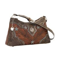 American West Handbag Desert Wildflower Collection: Leather Western Zip Top Shoulder Bag Brown