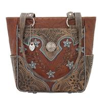 American West Handbag Desert Wildflower Collection: Leather Western Zip Top Tote  with Pockets Brown