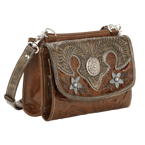 American West Handbag Desert Wildflower Collection  Leather Western  Crossbody Bag Wallet Brown 43576a7c70ed2