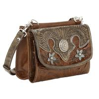 American West Handbag Desert Wildflower Collection: Leather Western Crossbody Bag Wallet Brown