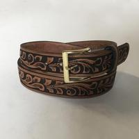 Rockmount Ranch Wear Accessory: Buckle w Tooled Floral Leather Brown