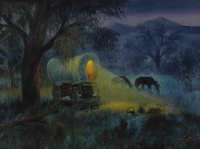 Artist Al Shelton: Night Along the Trail Giclee, Limited, Original Frame