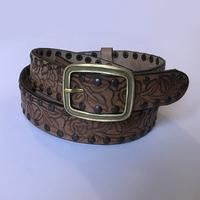 Rockmount Ranch Wear Accessory: Buckle w Belt Leather Floral Tooled Studs