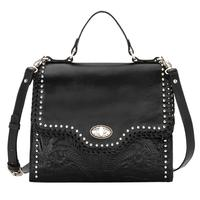 American West Handbag A Hidalgo Collection: Leather Convertible Top Handle Flap Bag Black