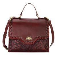 American West Handbag A Hidalgo Collection: Leather Convertible Top Handle Flap Bag Distressed Crimson