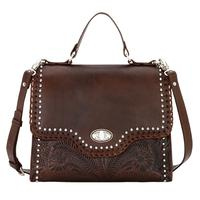 American West Handbag A Hidalgo Collection: Leather Convertible Top Handle Flap Bag Chestnut