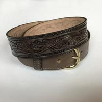 Rockmount Ranch Wear Accessory: Buckle w Belt Leather Leaf Design Brown