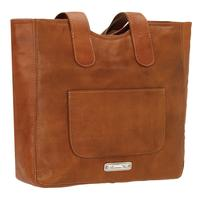 American West Handbag Mohave Canyon Collection: Leather Zip-Top Tote with Fringe Natural Tan