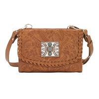 A American West Handbag Texas Two Step Collection: Crossbody Wallet Golden Tan Leather