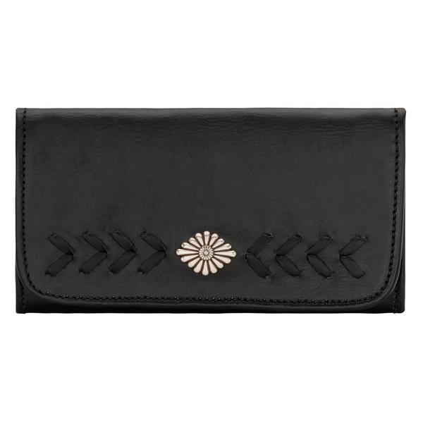 American West Handbag Mohave Canyon Collection: Leather Tri-Fold Wallet with Lacing and Concho Black