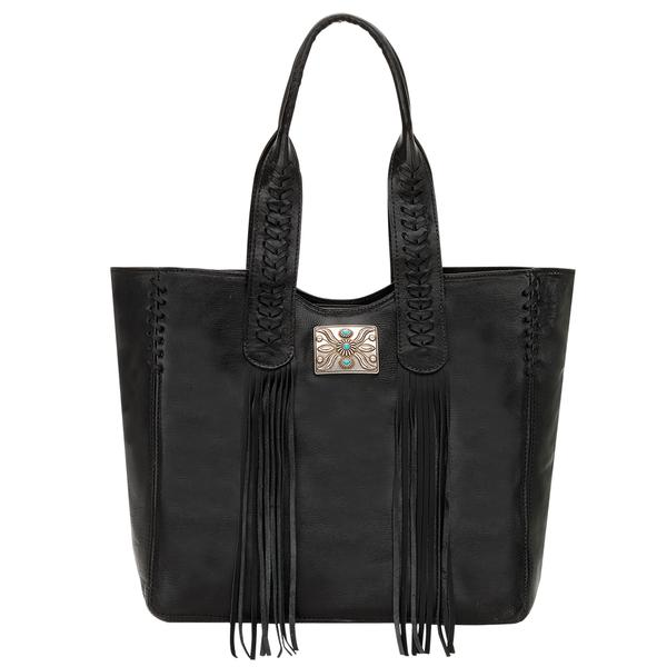 American West Handbag Mohave Canyon Collection: Leather Zip-Top Tote with Fringe Black