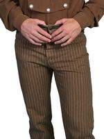 Scully Men's Old West Pant: Wahmaker Pant Cotton Saddle Cut Stripe Taupe 26-52