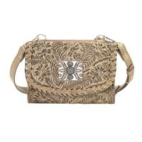 A American West Handbag Texas Two Step Collection: Crossbody Wallet Sand Leather