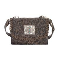 A American West Handbag Texas Two Step Collection: Crossbody Wallet Charcoal Brown Leather