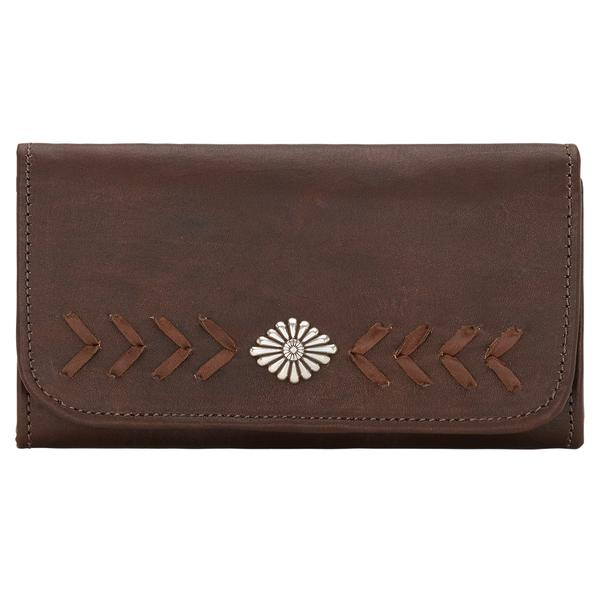 American West Handbag Mohave Canyon Collection: Leather Tri-Fold Wallet with Lacing and Concho Dark Brown