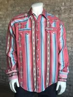 Rockmount Ranch Wear Men's Western Shirt: Print Serape Stripe 2X Backordered