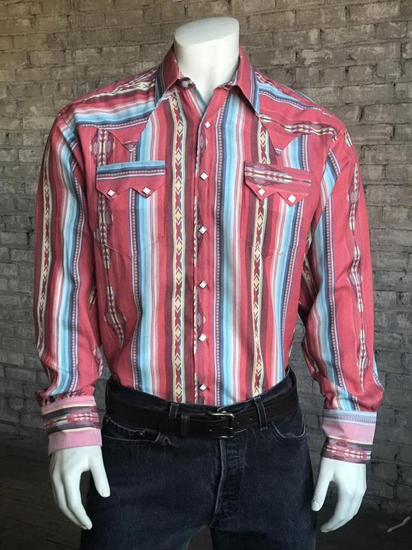 Rockmount Ranch Wear Men's Western Shirt: Print Serape Stripe Backordered
