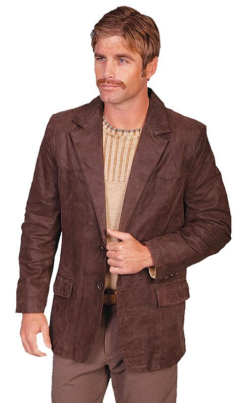 Scully Men's Leather Blazer: Western Classic Leather Brown Big