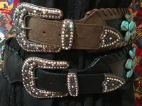 A Fashion Western Belt: Wide Leather Stone Studded