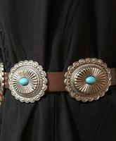 A Fashion Western Belt: Conchos on Leather with Turquoise