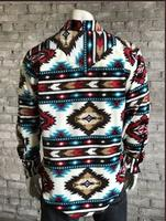 Rockmount Ranch Wear Men's Western Shirt: Winter Fleece Native American Inspired Pattern Red 2X