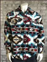 Rockmount Ranch Wear Men's Western Shirt: Winter Fleece Native American Inspired Pattern Red