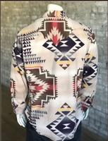 B Rockmount Ranch Wear Men's Western Shirt: Winter Fleece Native American Inspired Pattern Tan 2X Backorder