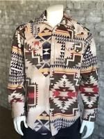 B Rockmount Ranch Wear Men's Western Shirt: Winter Fleece Native American Inspired Pattern Tan Backorder