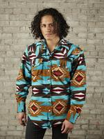 B Rockmount Ranch Wear Men's Western Shirt: Winter Fleece Native American Inspired Pattern Turquoise Backorder