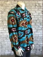 Rockmount Ranch Wear Men's Western Shirt: Winter Fleece Native American Inspired Pattern Turquoise 2XL